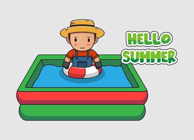 Милый фермер плавает с приветственным летним баннером