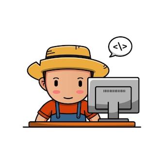 그의 컴퓨터 앞에서 일하는 귀여운 농부