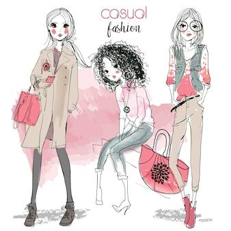 스케치 스타일의 귀여운 패션 만화 소녀