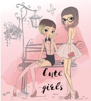 Симпатичные модные мультяшные девушки в отрывочном стиле
