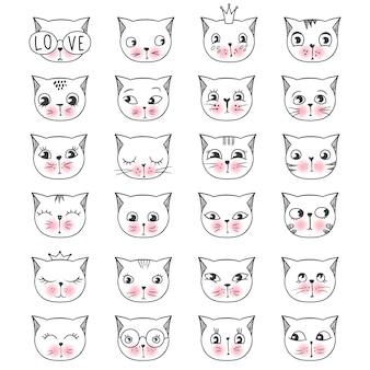 Cute fashion face cats set