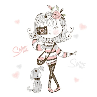 Cute fashionable girl with a camera with her pet dog.