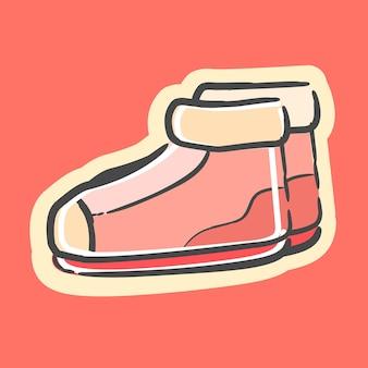 귀여운 유행 여자 핑크 신발 아이콘 벡터 일러스트 레이 션