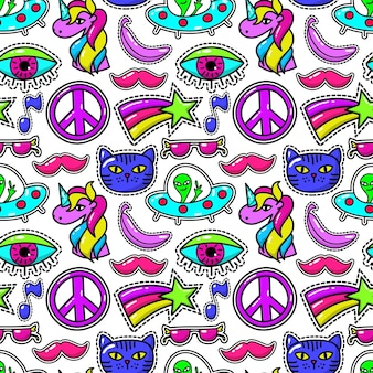 Cute fashioned patches seamless pattern with eye and pink mustache, sunglasses and rainbow star.