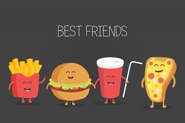 かわいいファーストフードハンバーガー、ソーダ、フライドポテト、ピザのイラスト