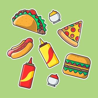 Cute fast food cartoon stickers pack