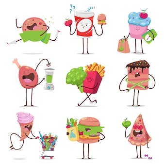 Cute fast food characters on diet cartoon set isolated on a white background.