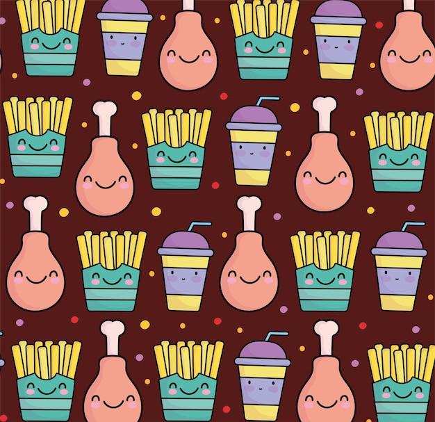 귀여운 패스트 푸드 치킨 감자 튀김 패턴