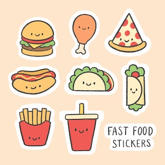 Cute fast food sticker hand drawn cartoon collection