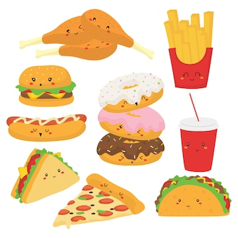 Cute fast food with funny faces vector collection