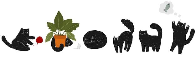 Cute fat black doodle cartoon cat set cat is hiding behind plant  scary kitten arches its back