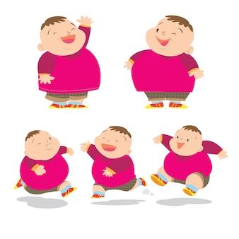 かわいい太った男の子チャーター多くのアクション