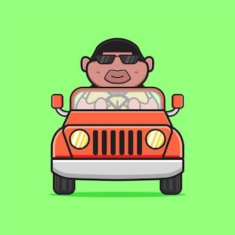 車の漫画のアイコンイラストを運転かわいい太った少年。孤立したフラット漫画スタイルをデザインする