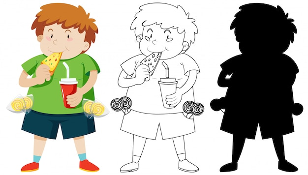 Cute fat boy eating pizza in colour and outline and silhouette