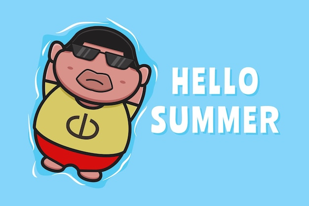 Cute fat boy floating relaxes with a summer greeting banner cartoon icon illustration