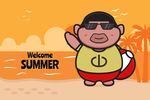 Cute fat boy holding ball with a summer greeting banner cartoon icon illustration.