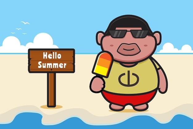 Милый толстый мальчик, держащий мороженое с летним приветствием, баннер мультяшный значок иллюстрации. дизайн изолирован на оранжево-желтом.