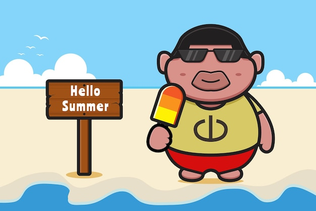 Cute fat boy holding ice cream with a summer greeting banner cartoon icon illustration. design isolated on orange yellow.