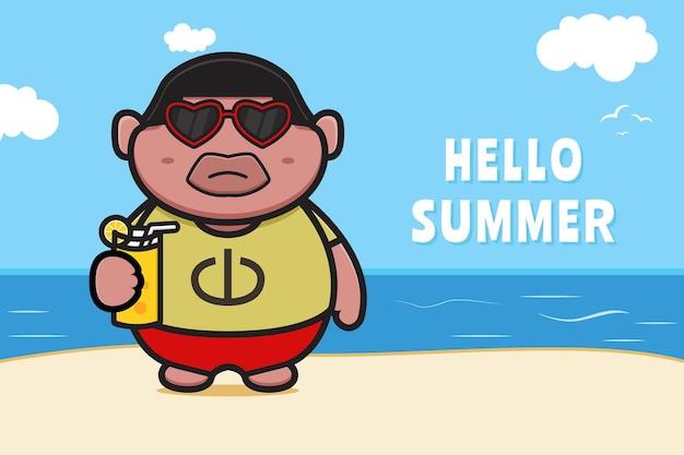 Милый толстый мальчик, держащий апельсиновый сок с летним приветствием баннер мультяшный значок иллюстрации.
