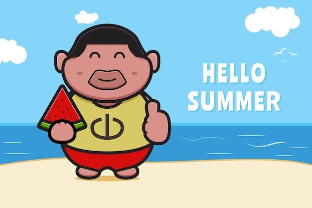 Милый толстый мальчик, держащий арбуз с летним приветствием баннер мультяшный значок иллюстрации.