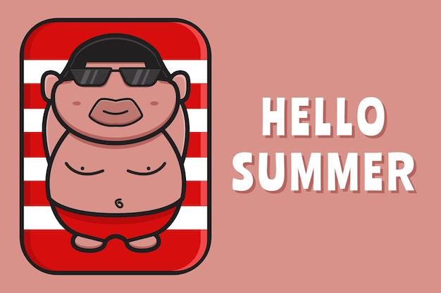 Cute fat boy relaxes with a summer greeting banner cartoon icon illustration.