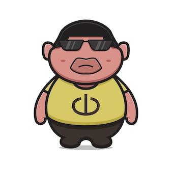Cute fat boy war glasses cartoon   icon illustration. fashion icon concept isolated  . flat cartoon style