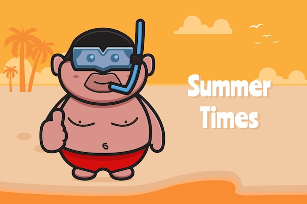 Cute fat boy wearing swimming goggles with good pose with a summer greeting banner cartoon icon illustration. design isolated on orange yellow.