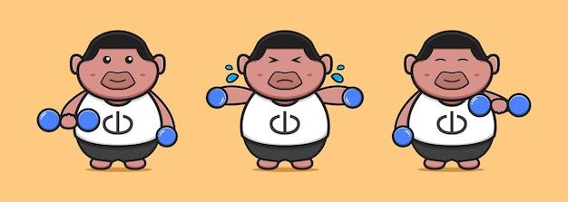 Cute fat boy do weight lifting cartoon icon illustration. design isolated flat cartoon style