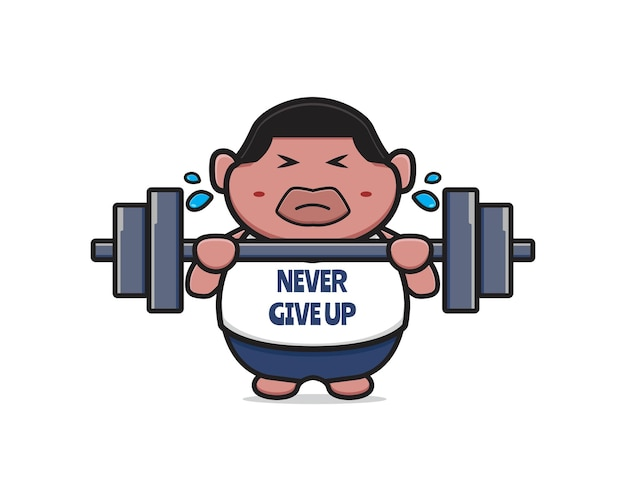 Cute fat boy do weight lifting never give up cartoon icon illustration. design isolated flat cartoon style