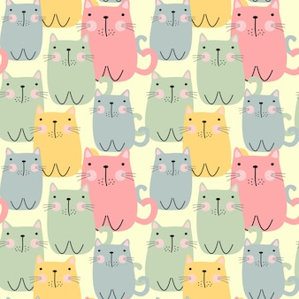 Cute fat cat seamless pattern