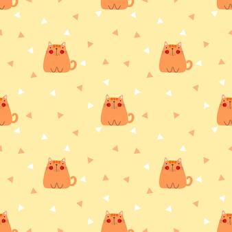 Cute fat cat seamless pattern
