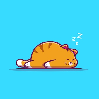 Cute fat cat sleeping cartoon