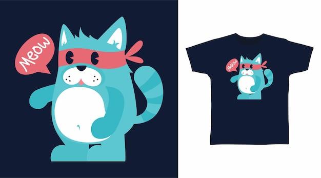 Симпатичный толстый дизайн футболки с котом