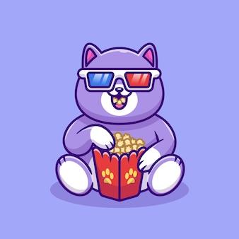 Cute fat cat watching movie with popcorn cartoon