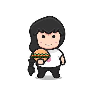 통나무 머리를 가진 귀여운 뚱뚱한 소녀 캐릭터. 흰색 배경에 고립 된 디자인입니다. 프리미엄 벡터