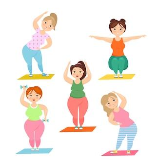Милые толстые дамы занимаются спортом. концепция фитнеса, пышные женщины большого размера делают упражнения