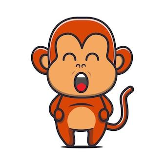 귀여운 뚱뚱한 원숭이 만화 일러스트 레이 션