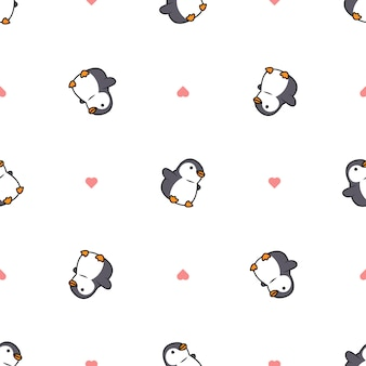 Cute fat penguin cartoon with heart seamless pattern