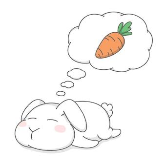 眠って夢を見ているかわいい太ったウサギのバニー