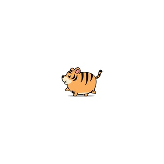Cute fat tiger walking cartoon icon