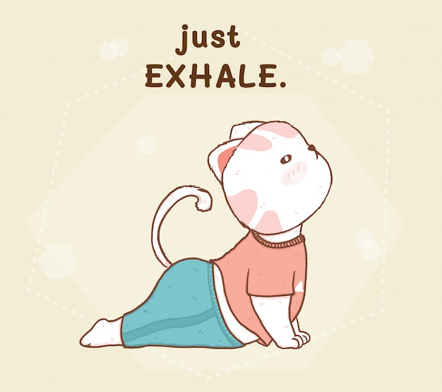 Cute fat white cat do yoga exhale pose with just exhale word, idea for greeting card, yoga stuff printing