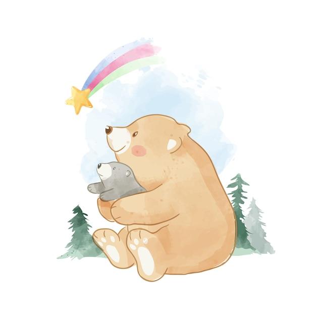 Милый отец и солнечный медведь, сидя в дикой природе