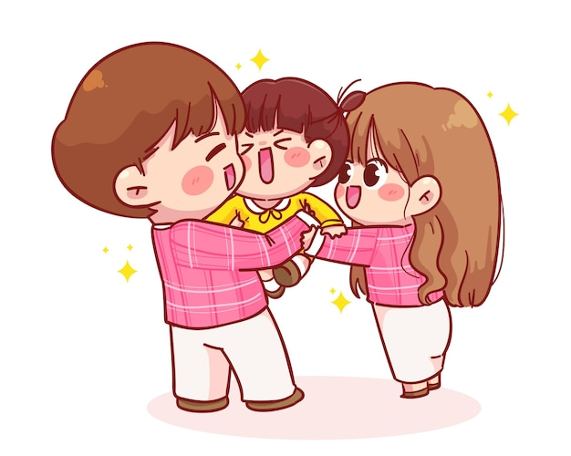 Cute father and mother holding a child cartoon illustration