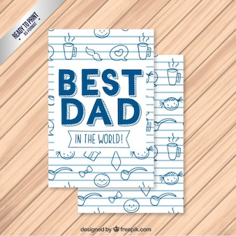 Cute father's day card with drawings
