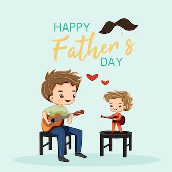 Cute father and son playing guitar together for father's day