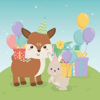 생일 파티 장면에서 귀여운 새끼 사슴과 토끼