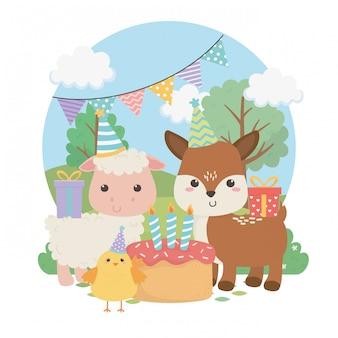 생일 파티 장면에서 귀여운 새끼 사슴과 양