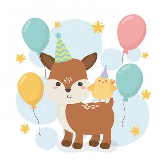 생일 파티 장면에서 귀여운 새끼 동물 농장
