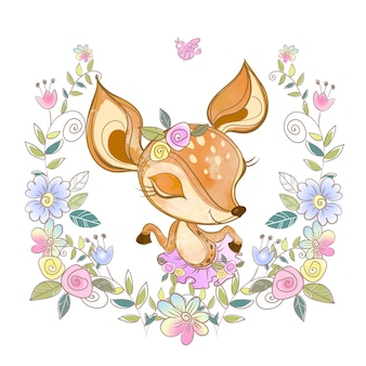 Cute fawn in a wreath of flowers.
