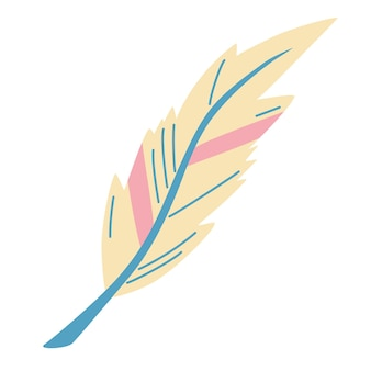 Cute feather. tribal design elements in pale colors. ideal style for cards, website design, logo, birthday, valentines day and any type of holiday or wedding invitations. vector illustration.